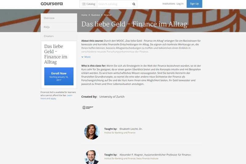 Geldanlage im Online-Kurs: Universität Zürich mit neuem Finance-MOOC bei Coursera